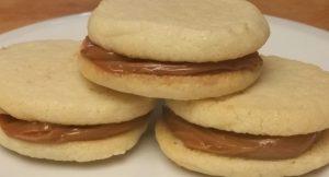 Alfajores. Sweet sandwich cookies filled with Dulce de Leche