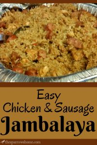 Click here for the easiest and tastiest chicken & sausage jambalaya ever!