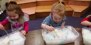 Painting Snow with Watercolors is a great sensory activity