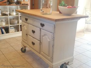 Using both the base and shelves of a hutch to create both a kitchen island and additional shelving. It's a creative and easy way to add character to your home.