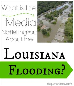 The Louisiana flooding is devastating, and is not being covered in most news media around the country. We are a people of strength. Let's come together and pray and help one another.
