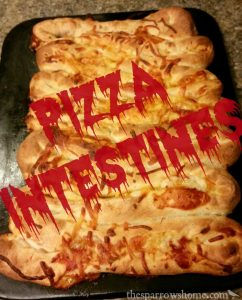 Pizza intestines are a yucky but delicious way to gross out a crowd.