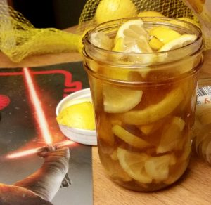 Honey lemon soother recipe. Slicing lemons with a lightsaber not necessary.