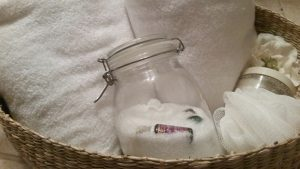 Make your own soothing bath salts using your empty essential oil bottles. Frugal and healing!