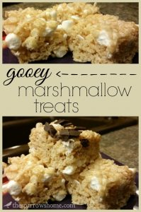 These marshmallow treats are not dry and crunchy like so many. They are ooey and gooey with pockets of melty marshmallow. Click here for the recipe.