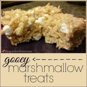 These marshmallow treats are not dry and crunchy like so many. They are ooey and gooey with pockets of melty marshmallow.
