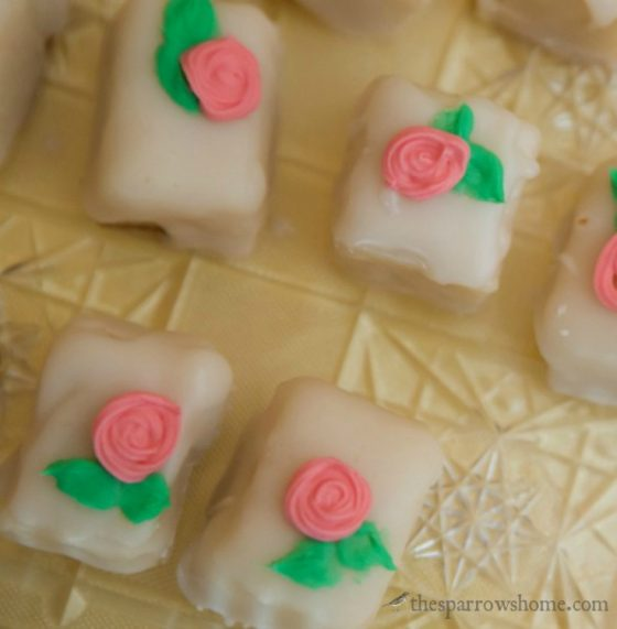 Easy petit fours made with pound cake and a pourable icing