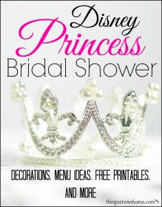 Hosting a Disney Princess Bridal Shower is not the same as a little girl's princess party. Ideas here for a shower with a nod to Disney's princesses.