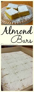 These almond bars are made with ingredients you always have on hand. They're easy, delicious, and pretty!