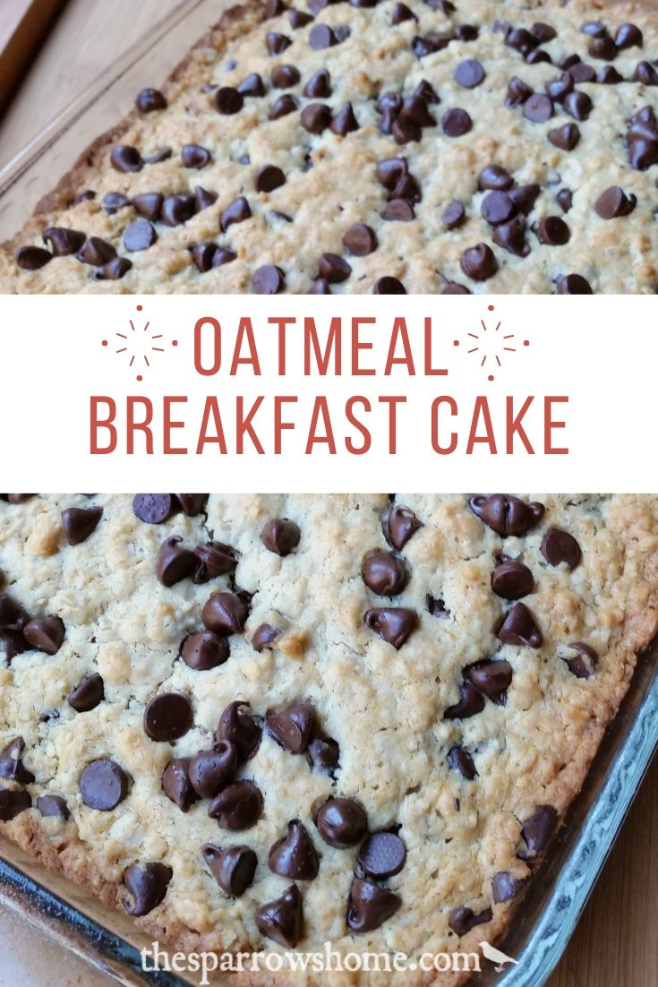 This oatmeal breakfast cake is dense and satisfying.  Made with chocolate chips it tastes like a giant oatmeal cookie!  But it's also delish with any fresh fruit you'd like to add.