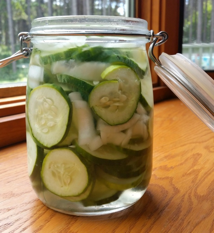 These refrigerator pickles are a little bit sweet, a little bit tart and a lot easy!