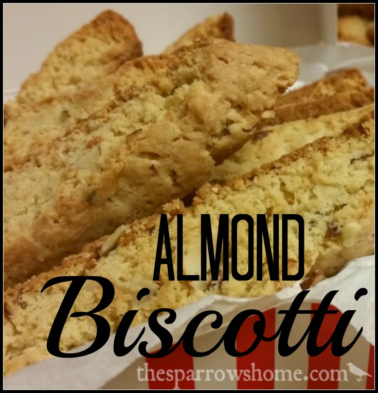 This almond biscotti was made for dipping. Biscotti, meaning 'twice baked', is a crunchy cookie perfect with a cup of hot cocoa, coffee, or even milk!