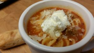 This lasagna soup for the crock pot is hearty and satisfying!