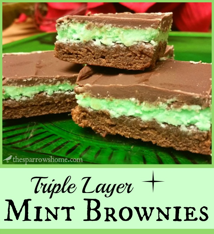 Triple layer mint brownies. Cool. Fudgy. Decadent.