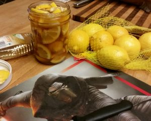 Honey lemon soother recipe. And yes, that is a Kylo Ren cutting board, thank you very much.