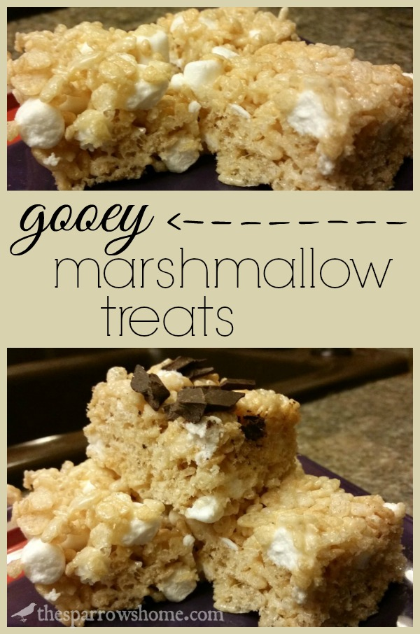 These rice crispy bars are not dry and crunchy like so many. They are ooey and gooey with pockets of melty marshmallow. Click here for the recipe.