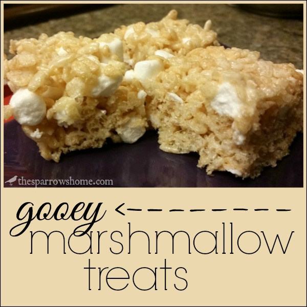 These rice crispy bars are not dry and crunchy like so many. They are ooey and gooey with pockets of melty marshmallow.