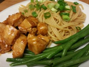 This quick chicken teriyaki and sesame noodles come together in a snap. It's an easy weeknight meal that tastes like you ordered out!