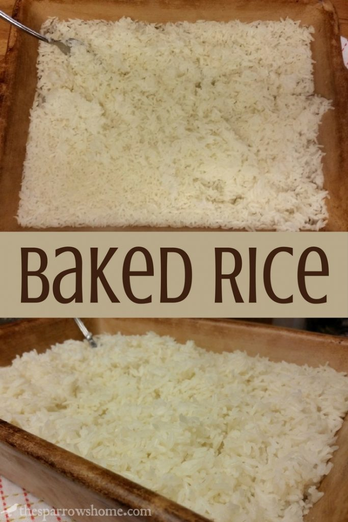This baked rice is an easy, no mess way to cook rice. No sputtering, starchy mess to clean up!