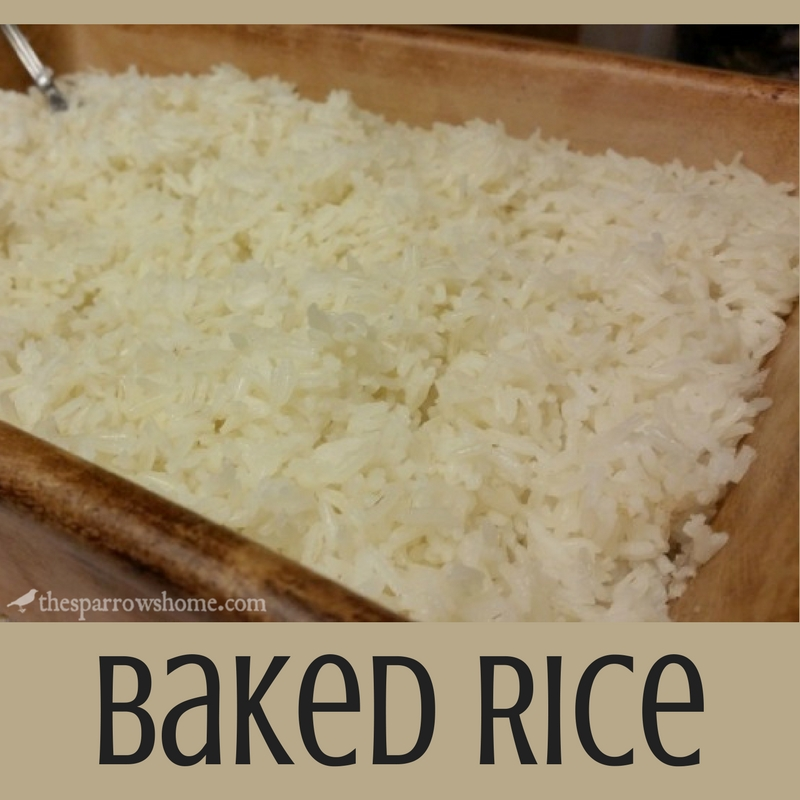 This baked rice is an easy, no mess way to cook rice.