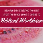 Biblical Worldview. Kids are leaving their faith at astounding rates. How long is it going to take for us to recognize the seeds that produce this fruit & start planting something different?