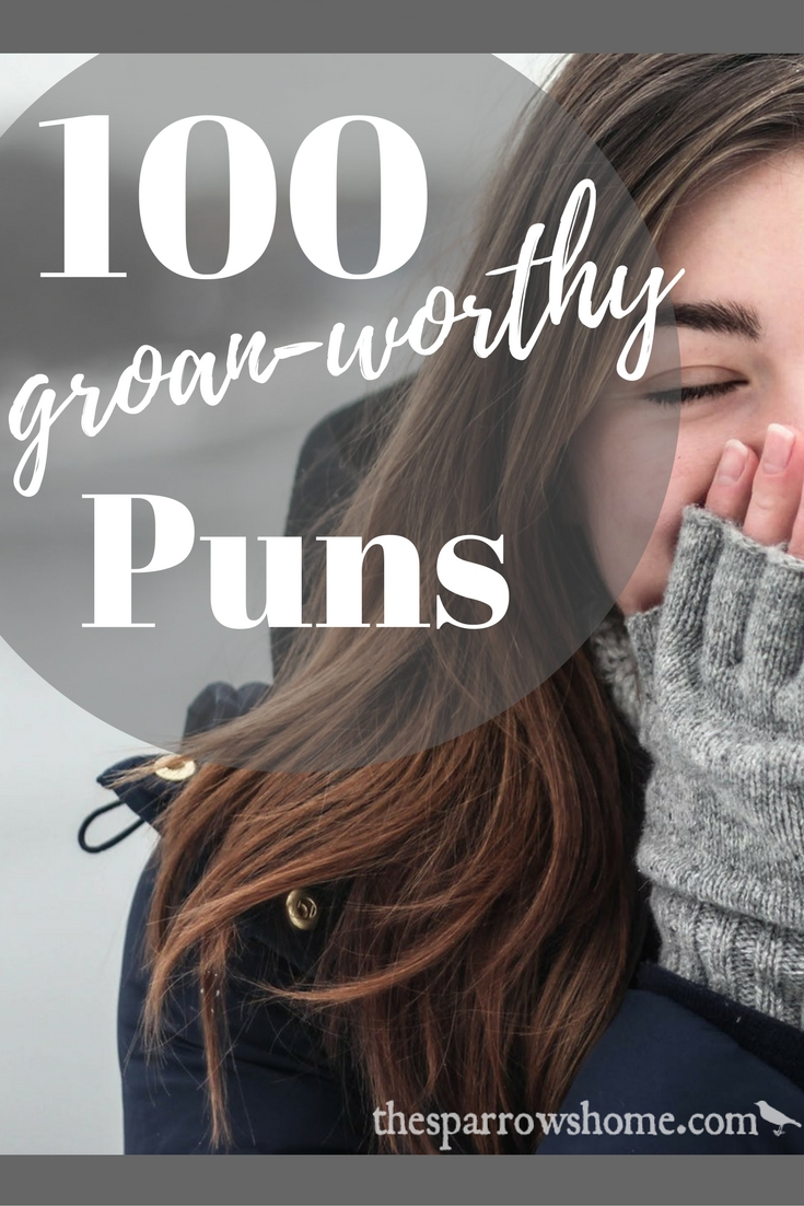 100 Puns to Make You Roll Your Eyes, Groan, and Shake Your Head. There's something for everyone, arranged by category: food, animals, Harry Potter, Star Wars, literature, work-related, visual puns, and more!