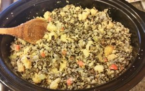 Wild Rice & Cornbread Stuffing in the crock pot