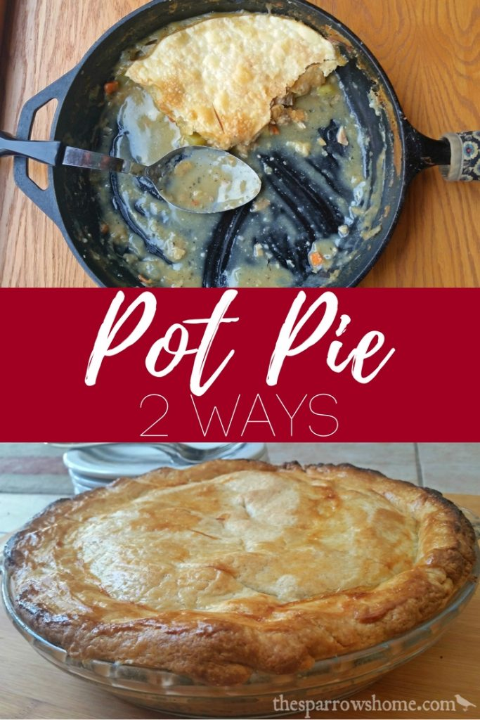 Chicken Pot Pie with one crust or two crusts, baked in an iron skillet or in a pie plate. Same easy recipe, same homey comfort food.