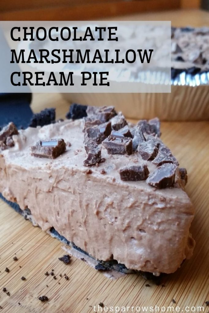This light, fluffy chocolate cream pie is made with marshmallows and tastes like a sweet candy bar. Easy to make and no-bake!