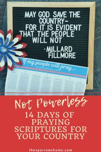 Print out this page of short, Scripture based prayers as a reminder to pray for your nation. You may feel powerless in the face of events that are beyond your control, but God's people are never powerless.