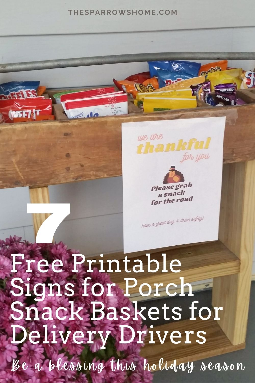 Make a porch basket to brighten the day of your delivery drivers this holiday season (7 free printable signs to choose from!)