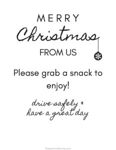 7 free printable signs for porch snack baskets for delivery drivers. Be a blessing this holiday season!
